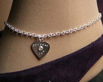 Lil Heart ~ Personalized Slave Ankle Chain Bracelet. BDSM Anklet. Sterling silver & Gemstone. Choose stone. Little heart anklet.