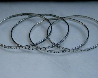 Sterling Silver Inspirational Bangle. Motivational bangle. Mantra bangle. Stacking bracelet. Choose Quote / have Personalized. Organic / Eco