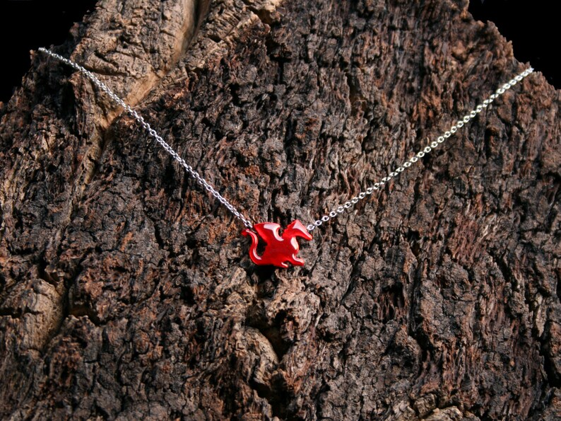 Exclusive design Welsh Dragon Baby Red Dragon Eco-friendly. /'Forest friends/' collection Enameled Copper and Sterling Silver Pendant