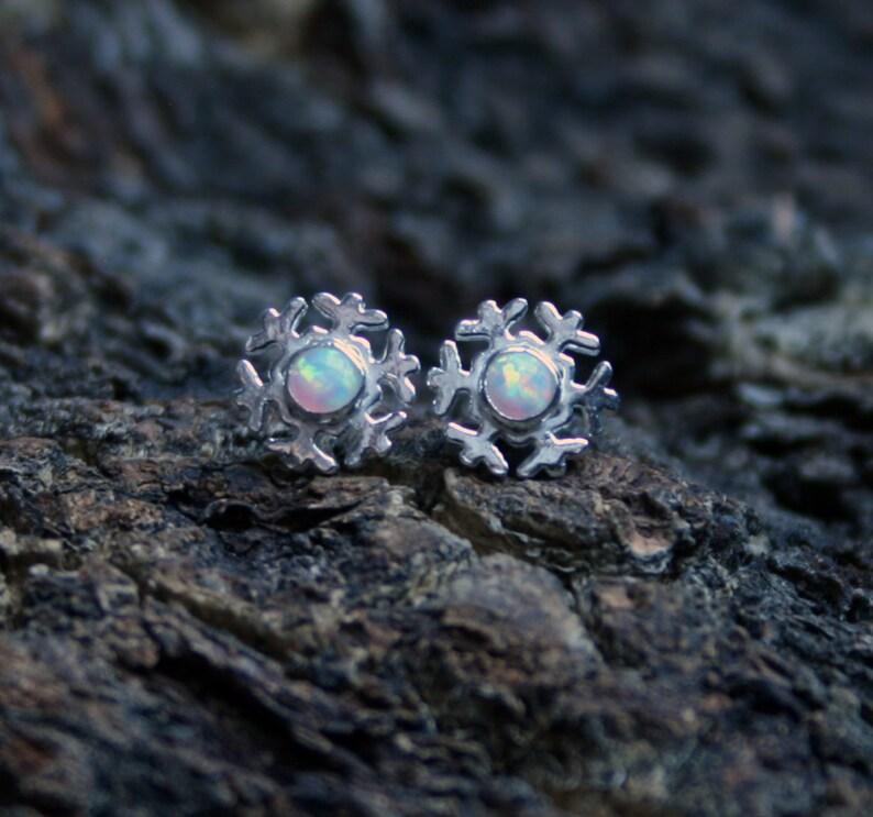 Winter snow  Snowflake stud earrings in Sterling Silver. image 1