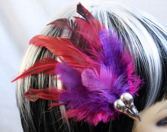 Exclusive 'Fuchsia Raven' hair grip / fascinator in Fuchsia, Purple and pinky red.