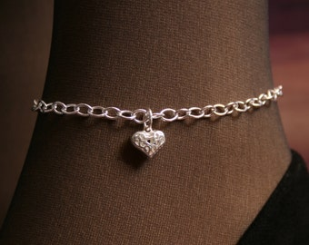 Heart of Hearts. Slave Ankle Chain Bracelet. BDSM Anklet. Sterling silver. Little puffed heart ankle chain. Filigree heart chain anklet.
