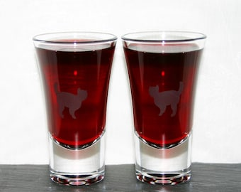 Cat Shot - Pair of hand etched shot glasses featuring a solitary cat.