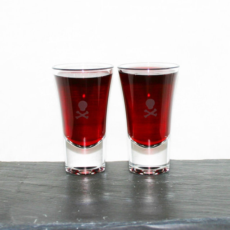 Death Shot  Set of six hand etched shot glasses featuring a image 0