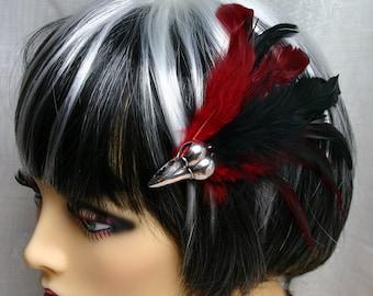 Exclusive 'Blood Raven' hair grip/ fascinator in black and deep red.