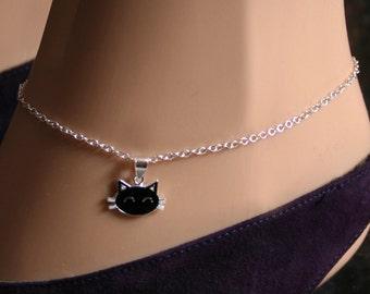 Sir's Kitten. Black Cat Slave Ankle Chain Bracelet. BDSM Anklet. Sterling silver. Kitty ankle chain. Kitty cat. Cute kitten anklet.