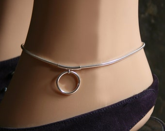 Discrete PERMANENTLY LOCKING Slave Ankle Chain Bracelet. 'Story of O' BDSM 'O' ring anklet. Sterling silver. Choose large or small 'O' ring.