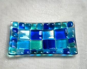 Summer Seas (D1), mosaic series, fused glass soap / trinket / sushi / chocolates dish in a range of blues. Bathroom / Kitchen / Bedroom