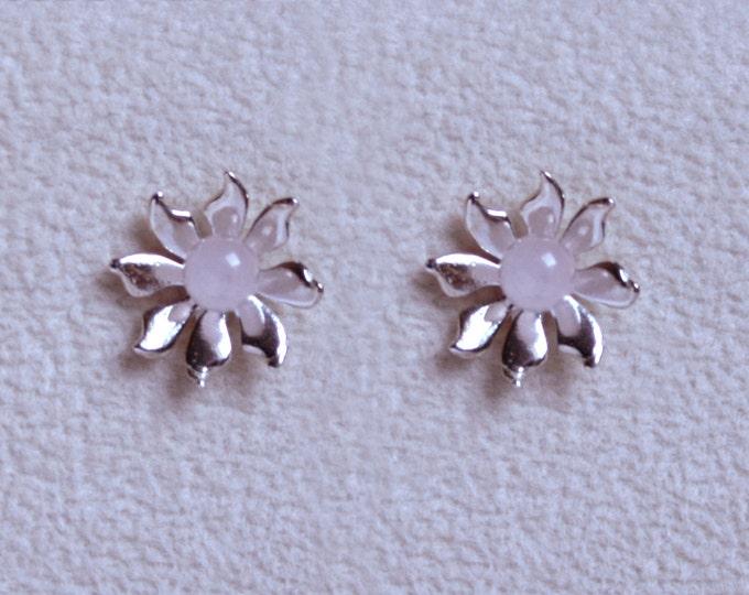 Handmade 'Ma Petite Fleur' earrings. Traditionally hand made, sterling silver gemstone flower stud earrings with Rose Quartz.