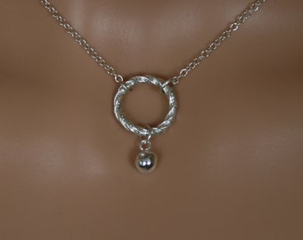 Slave bell - Discrete Fancy 'O' ring Day Collar / Slave Necklace. Captive/Eternity/Infinity ring. Sterling silver choker or necklace.