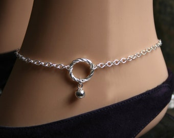 Slave bell. PERMANENTLY LOCKING Fancy 'O' ring Ankle Chain Bracelet. BDSM Anklet. Sterling silver. Little tiny bell. Infinity /Eternity ring