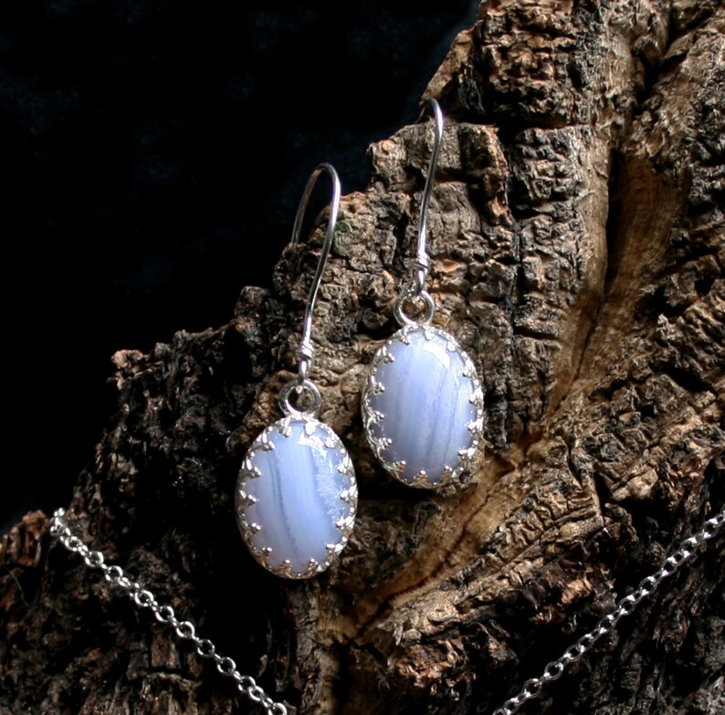 Blue Lace Agate 'Principessa' Earrings. Classical image 0