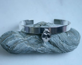 Elegant Cuff CZ Diamante Padlock BDSM bracelet. Traditionally handmade with subtle satin shimmer finish. Fully UK Hallmarked Sterling Silver