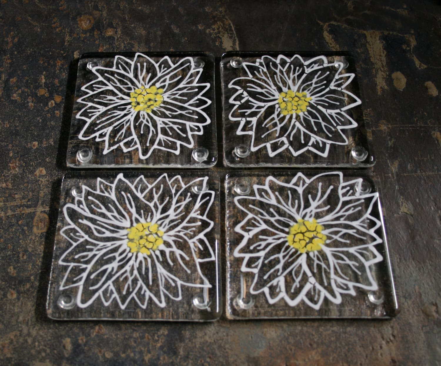 kiln fused glass coasters 39 daisy 39 large white etsy. Black Bedroom Furniture Sets. Home Design Ideas