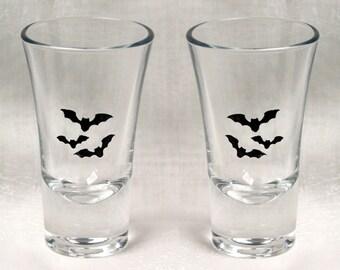 Bat Shot in Black - Set of Six of hand enameled shot glasses featuring a trio of beautiful black bats. Dishwasher safe!