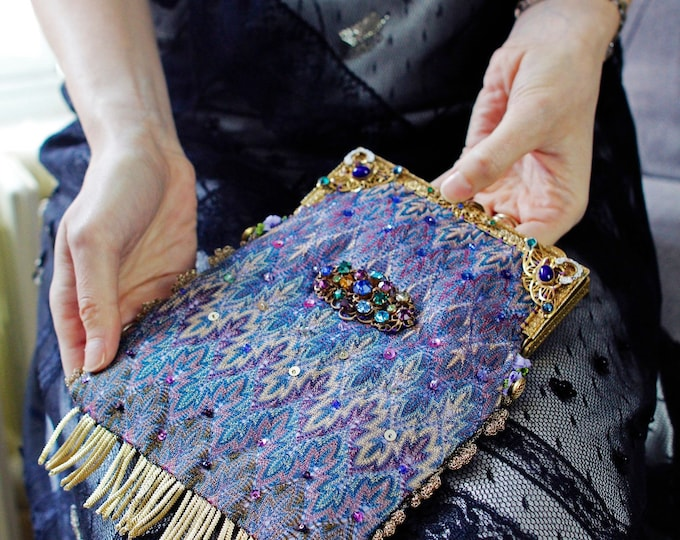 Antique gilt jewelled purse frame 1920s UpCycled and remade in salvaged vintage Silk shawl.