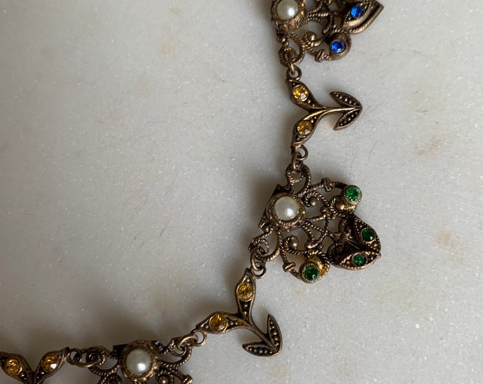 Antique Czech 1930s brass Fillagree pearl necklace
