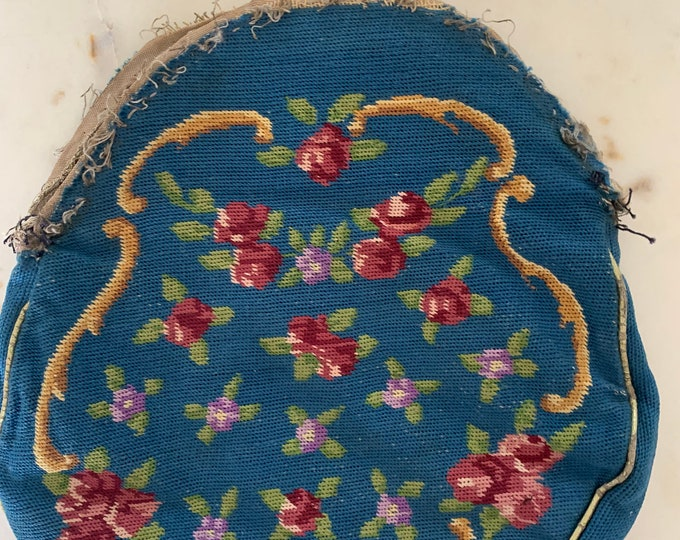 Antique petit point purse no frame for repair only