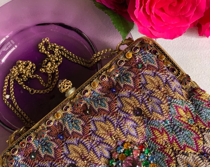 Antique 1940s  gilt jewelled framed purse UpCycled and remade in jewelled coloured woven silk salvaged from antique silk shawl .
