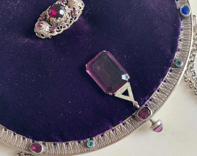 Antique silver jewelled purse frame UpCycled and remade in purple silk velvet
