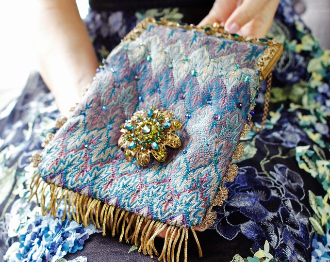 Antique Austrian 1940 s jewelled framed UpCycled hand made purse in vintage woven silk with vintage Czech brooch.