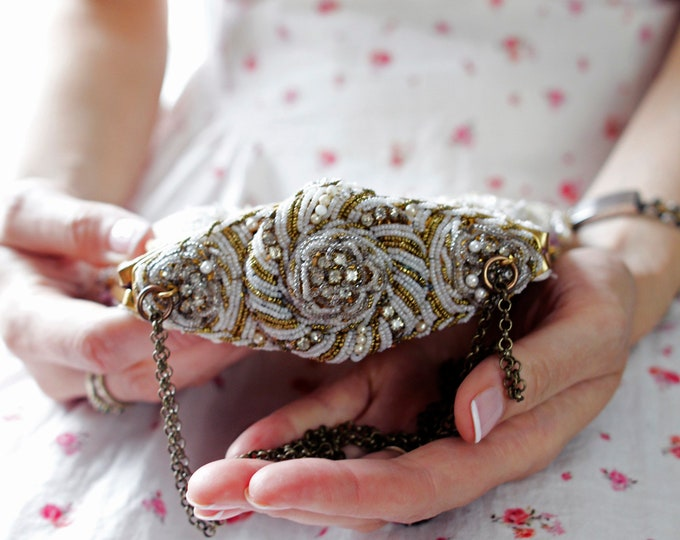 Antique 1940 s intricately beaded pearl handled Up Cycled gold lace hand made evening purse with antique  rhinestone brooch.