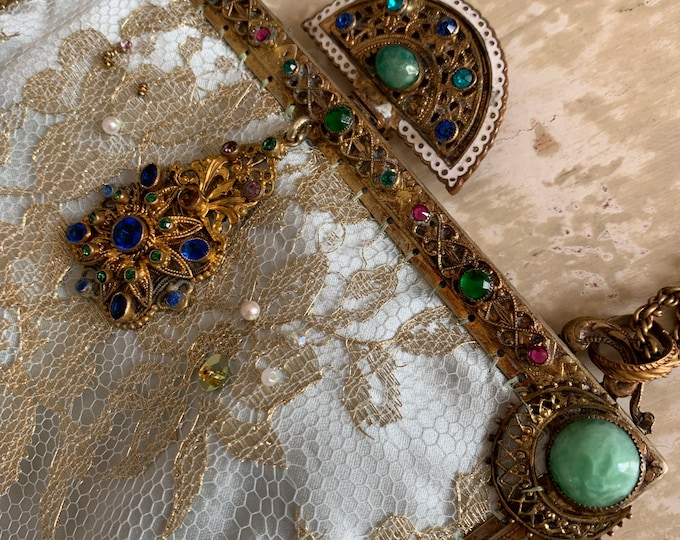 Magnificent gilt jewelled 1940 s purse frame remade in gold lace