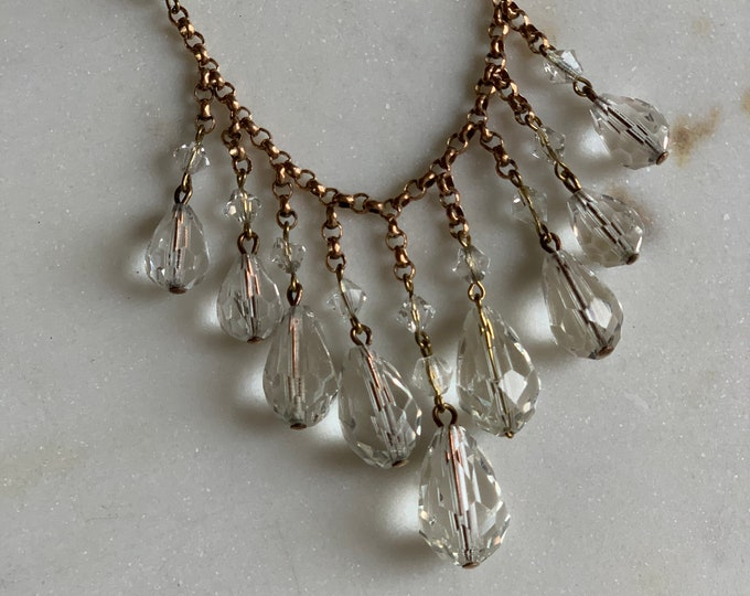1920 s Antique Crystal necklace on fine Brass Chain