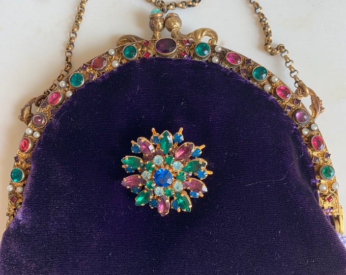 Antique jewelled purse frame UpCycled and remade in purple silk velvet .