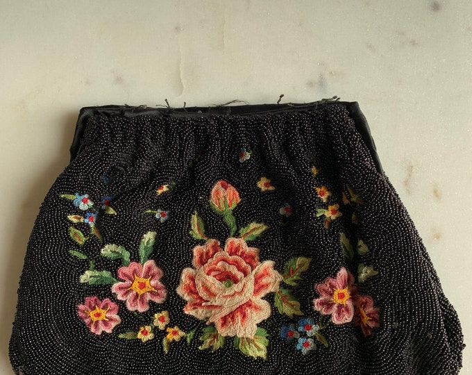 Antique black beaded and embroidered purse no frame for repair only