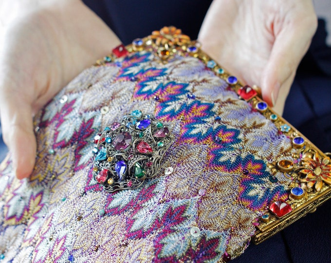 Antique 1940 s enamel and jewelled purse frame Up cycled  bag made in Antique woven silk salvaged from a 1920 s shawl with vintage Czech .