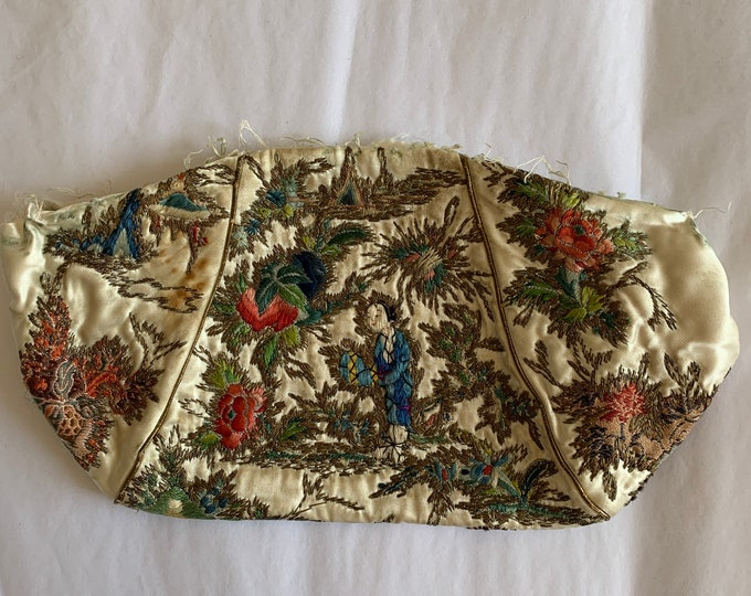 Antique oriental embroidered silk purse