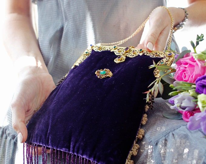 Antique gilt framed jewelled purple silk velvet purse.