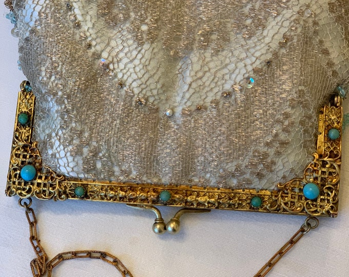 Antique gilt frame with turquoise stones vintage purse.