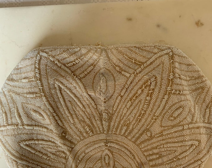 Antique white beaded purse