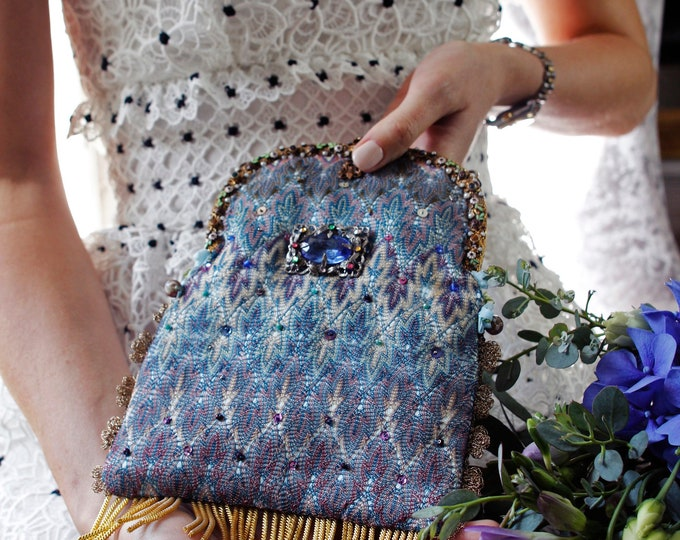 Antique jewelled handle woven silk bag