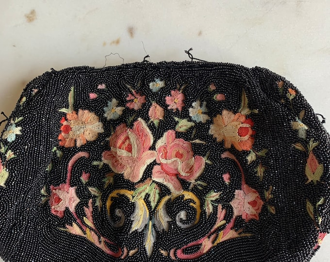 Beautiful antique beaded and embroidered purse no frame for repair only .