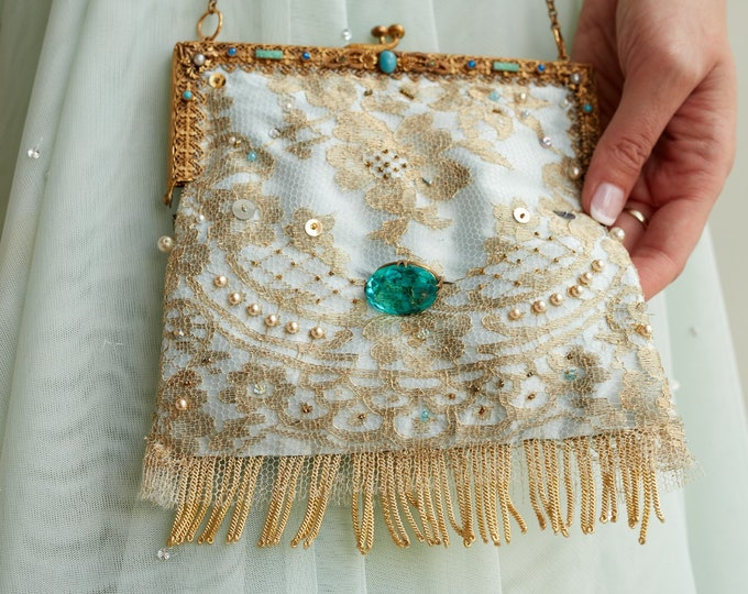 Antique jewelled gilt 1930 s frame UpCycled purse remade in gold hand beaded lace with vintage brooch .