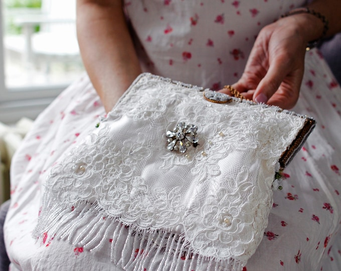 Antique white beaded 1940s purse frame remade in french off white hand beaded lace