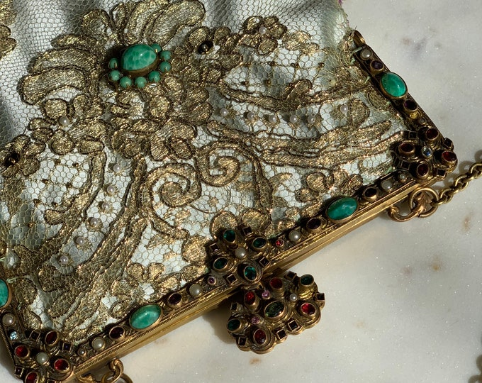 Antique jewelled 1940s gilt purse frame UpCycled and remade in french gold beaded lace .