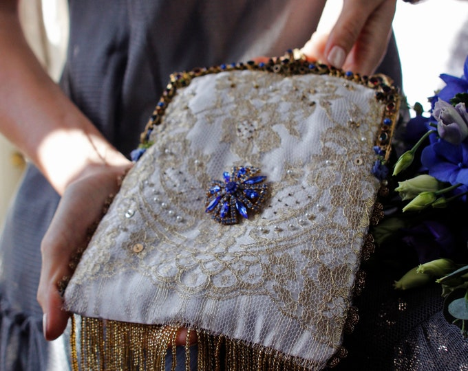 Antique jewelled gold lace evening bag