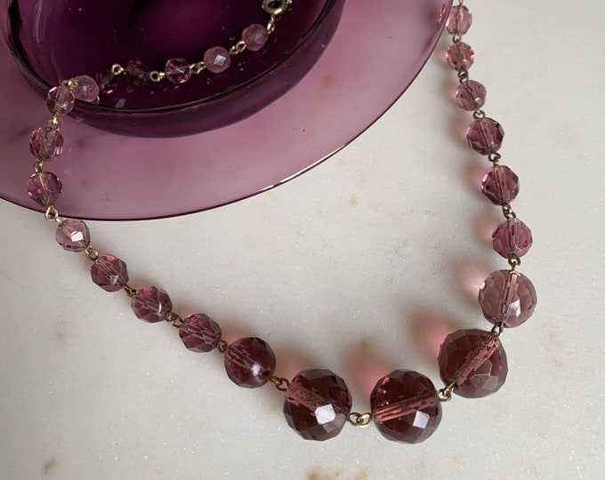 Antique 1930s amethyst coloured faceted crystal necklace