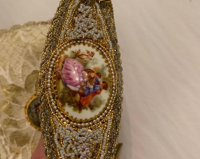 Antique Limoges handle beaded evening bag