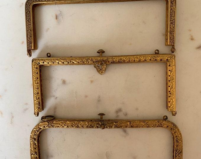 3 Antique gilt engraved purse frames