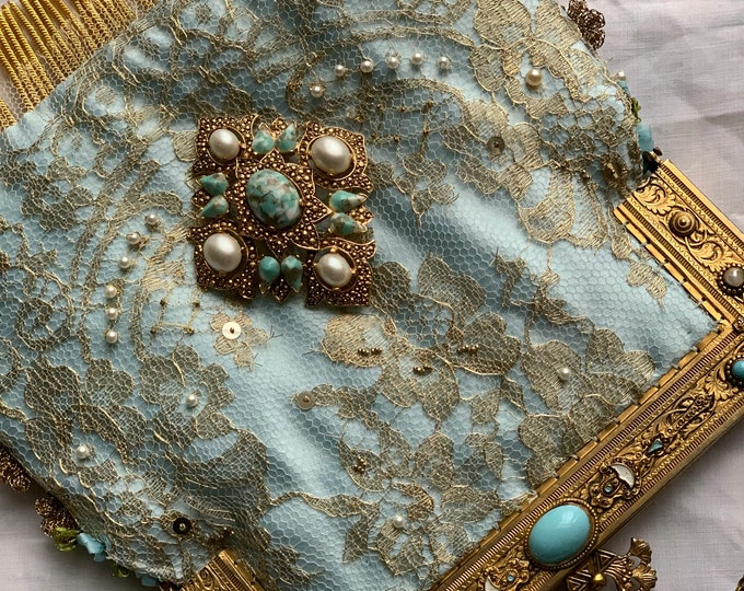 Magnificent Antique gilt and turquoise handled gold evening bag .