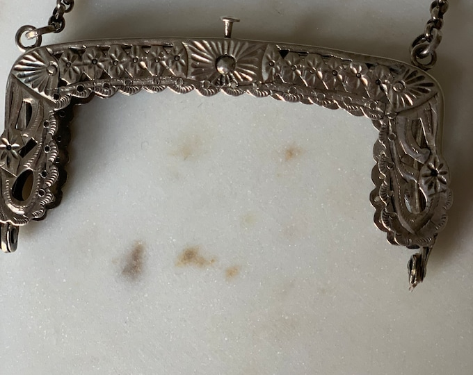 Antique silver Chatelaine purse frame