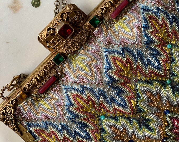 Antique jewelled gilt purse frame 1940 s UpCycled and remade by hand in Antique woven silk from antique Shawl.