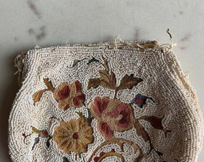 Antique beaded and embroidered purse no frame for repair only