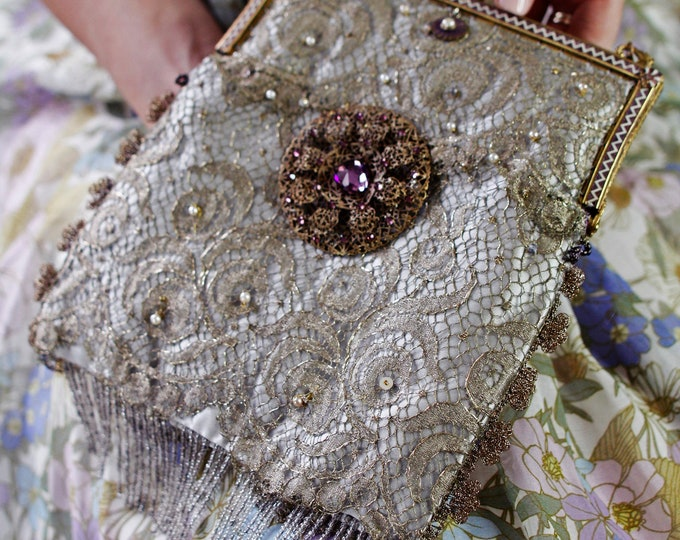 Antique Amethyst enamel and gilt framed gold bag UpCycled and remade in vintage gold lace and magnificent vintage Czech brooch .