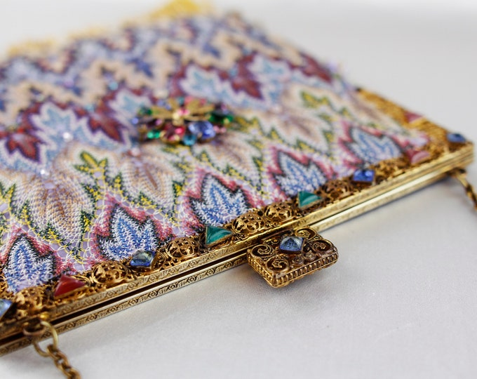 Antique 1930 s gilt jewelled framed purse UpCycled and remade in vintage woven silk salvaged from an antique shawl with vintage brooch